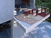 Wizualizacja balkonu z zastosowaniem materiałów Sopro